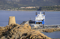 - Corsica, Ile Rousse, ferry landing place and ancient Genoese watchtower<br /> <br /> - Corsica, Ile Rousse, approdo dei traghetti e antica torre di guardia genovese