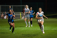 Kansas City, MO - Thursday August 10, 2017: Abby Dahlkemper, Sydney Leroux during a regular season National Women's Soccer League (NWSL) match between FC Kansas City and the North Carolina Courage at Children's Mercy Victory Field.