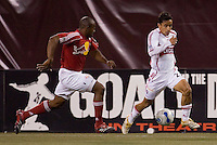 Chicago Fire's (23) Ivan Guerrero is chased by (2) Marvell Wynne of the Red Bulls during the second half. The Red Bulls played the Fire to a 1-1 tie at Giant's Stadium, East Rutherford, NJ, on May 13, 2006.