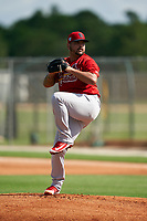 GCL Cardinals pitcher Williams Perez (56) during a Gulf Coast League game against the GCL Astros on August 11, 2019 at Roger Dean Stadium Complex in Jupiter, Florida.  GCL Cardinals defeated the GCL Astros 2-1.  (Mike Janes/Four Seam Images)