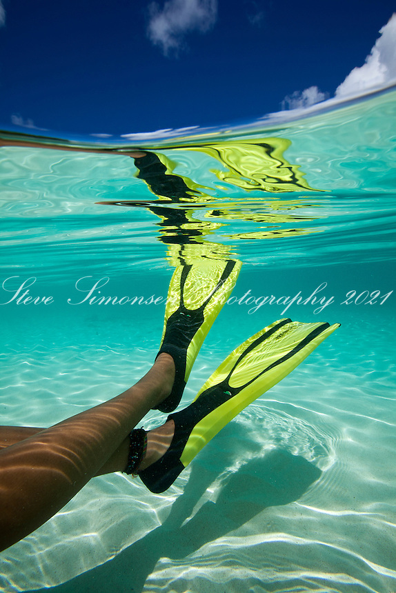 Underwater view of a snorkeler<br /> Hawksnest Beach<br /> Virgin Islands National Park<br /> St. John, U.S. Virgin Islands