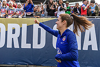 CHICAGO, IL - OCTOBER 06: Kelley O'Hara #5 of the United States during a game between the USA and Korea Republic at Soldier Field, on October 06, 2019 in Chicago, IL.