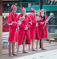 STANFORD, CA - April 20, 2019: Kat Klass, Mackenzie Wiley, Cassidy Wiley, Madison Berggren at Avery Aquatic Center. The #1 Stanford Cardinal took down the #20 San Jose State Spartans 22-4.
