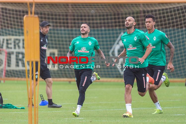 28.06.2020, Trainingsgelaende am wohninvest WESERSTADION,, Bremen, GER, 1.FBL, Werder Bremen Training, im Bild<br /> <br /> Leonardo Bittencourt  (Werder Bremen #10)<br /> Ömer / Oemer Toprak (Werder Bremen #21)<br /> Davie Selke  (SV Werder Bremen #09)<br /> <br /> <br /> Foto © nordphoto / Kokenge