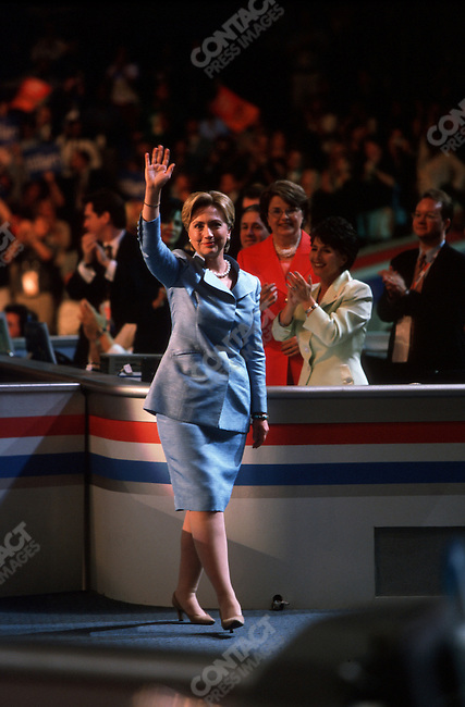 Hillary Clinton, speaking at the Democratic National Convention, Staples Center,  Los Angeles, California, August 15, 2000