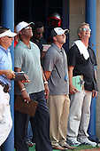 Scouts watch during practice for the Under Armour All-American Game at Les Miller Field on August 13, 2010 in Chicago, Illinois.  (Copyright Mike Janes Photography)