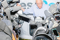 Democratic presidential candidate Bernie Sanders speaks to the press at the Iowa State Fair in Des, Moines, Iowa, on Sun., Aug. 11, 2019.