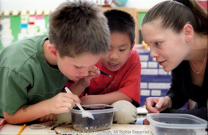 "Looking for ""bones"" in soil, an elementary school Science Class learns basic archeological techniques."