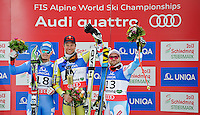 09.02.2013, Planai, Schladming, AUT, FIS Weltmeisterschaften Ski Alpin, Abfahrt, Herren, im Bild v.l. Dominik Paris (ITA, 2. Platz), Aksel Lund Svindal (NOR, 1. Platz), David Poisson (FRA, 3. Platz) // 2nd place Dominik Paris of Italy, 1st place Aksel Lund Svindal of Norway, 3rd place David Poisson of France after Mens Downhill at the FIS Ski World Championships 2013 at the Planai Course, Schladming, Austria on 2013/02/09. EXPA Pictures © 2013, PhotoCredit: EXPA/ Sandro Zangrando .Schladming 9/2/2013 .Mondiali Sci 2013.Discesa Libera Uomini .Foto Insidefoto - ITALY ONLY