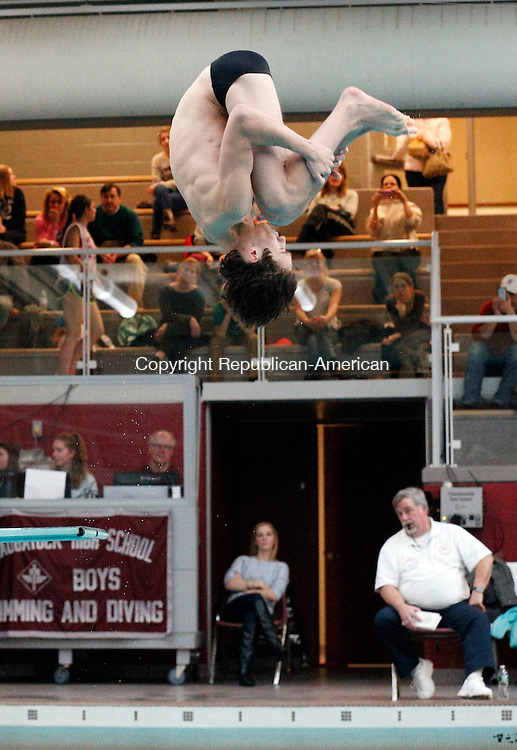 Naugatuck, CT- 22 January 2016-012216CM04-  Pomperaug's Chris Lewis competes in the diving portion of a swim meet against Naugatuck on Friday.      Christopher Massa Republican-American
