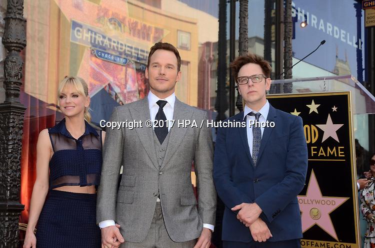 LOS ANGELES - APR 21:  Anna Faris, Chris Pratt, James Gunn at the Walk of Fame Star Ceremony on the Hollywood Walk of Fame on April 21, 2017 in Los Angeles, CA