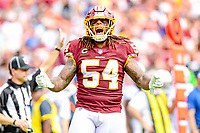 Landover, MD - September 16, 2018: Washington Redskins linebacker Mason Foster (54) is fired up after a tackle in the back field during game between the Indianapolis Colts and the Washington Redskins at FedEx Field in Landover, MD. The Colts defeated the Redskins 21-9.(Photo by Phillip Peters/Media Images International)