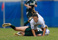 Florida International University Golden Panthers against Stetson at Miami, Florida on Sunday, September 23, 2007.  The Golden Panthers won, 2-1...FIU freshman midfielder Kassandra Sorzano (Miami, Fla.) (10) is tripped up by Stetson freshman midfielder Tessa Gavilsky (2) in the second half.