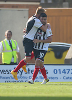 Grimsby Town's Padraig Amond (right) celebrates scoring with Craig Disley to level the scores at 2-2