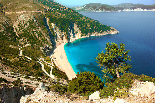 The famous Turquoise waters of Myrtos Beach (??????? ??????), Kefalonia, Greek Ionian Islands