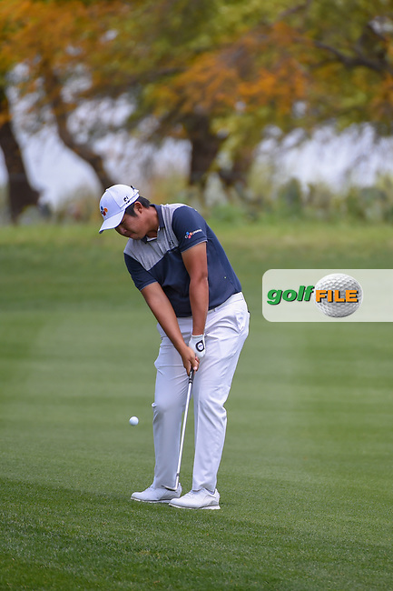 Byeong Hun An (KOR) chips on to 1 during day 1 of the Valero Texas Open, at the TPC San Antonio Oaks Course, San Antonio, Texas, USA. 4/4/2019.<br /> Picture: Golffile   Ken Murray<br /> <br /> <br /> All photo usage must carry mandatory copyright credit (© Golffile   Ken Murray)