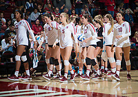 STANFORD, CA - December 1, 2018: Courtney Bowen, Payton Chang, Michaela Keefe, Blake Sharp, Caitlin Keefe at Maples Pavilion. The Stanford Cardinal defeated Loyola Marymount 25-20, 25-15, 25-17 in the second round of the NCAA tournament.