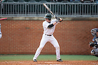 Brett Netzer (9) of the Charlotte 49ers at bat against the Akron Zips at Hayes Stadium on February 22, 2015 in Charlotte, North Carolina.  The Zips defeated the 49ers 5-4.  (Brian Westerholt/Four Seam Images)