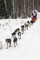 Bjornar Andersen w/Iditarider on Trail 2005 Iditarod Ceremonial Start near Campbell Airstrip Alaska SC