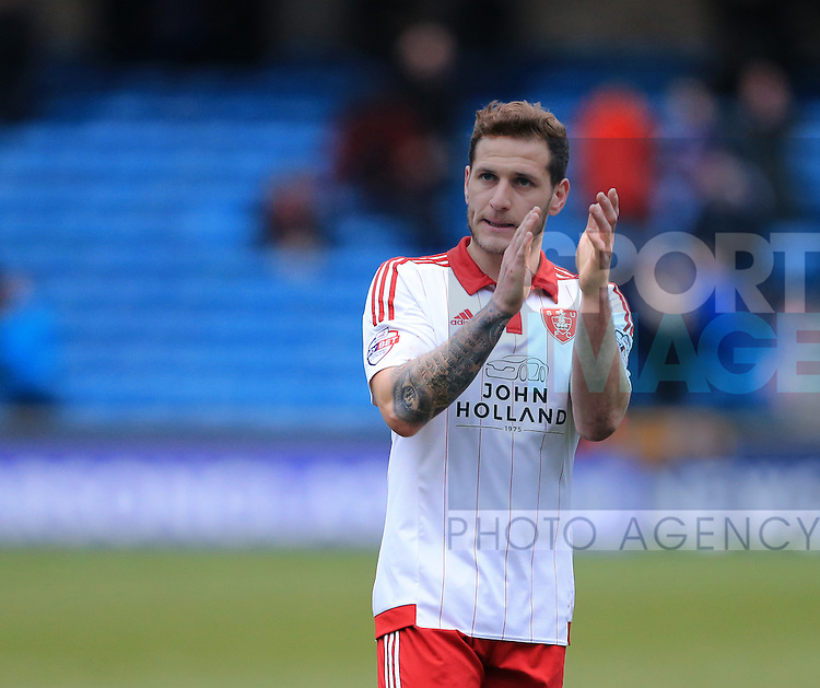 Sheffield United's Billy Sharp applauds the travelling support at the final whistle during the League One match at The Den.  Photo credit should read: David Klein/Sportimage