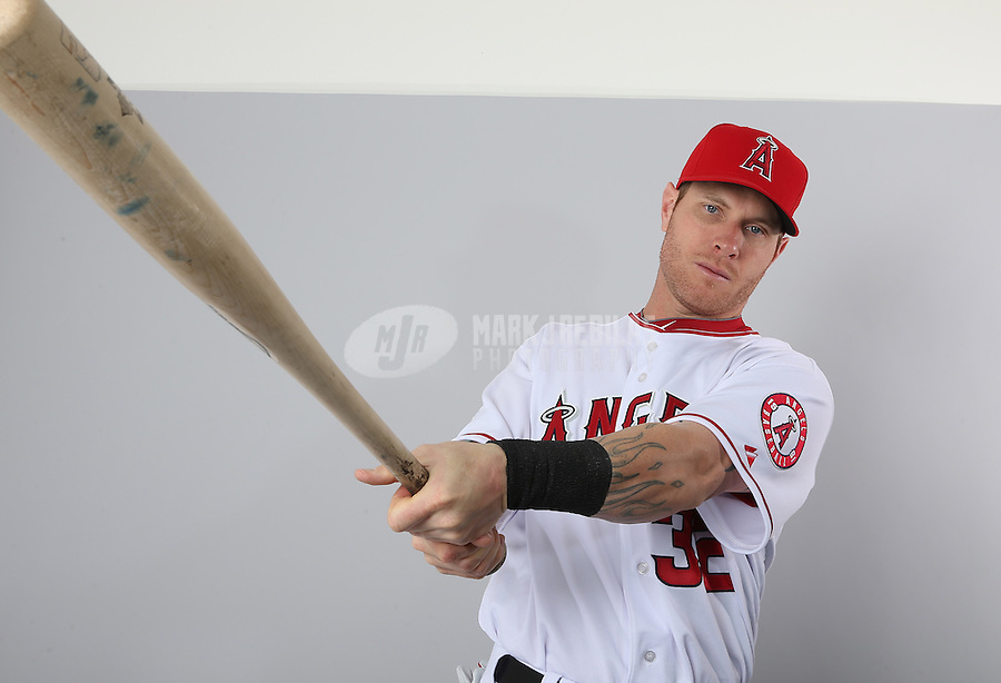Feb. 21, 2113; Tempe, AZ, USA: Los Angeles Angels outfielder Josh Hamilton poses for a portrait during photo day at Tempe Diablo Stadium. Mandatory Credit: Mark J. Rebilas-