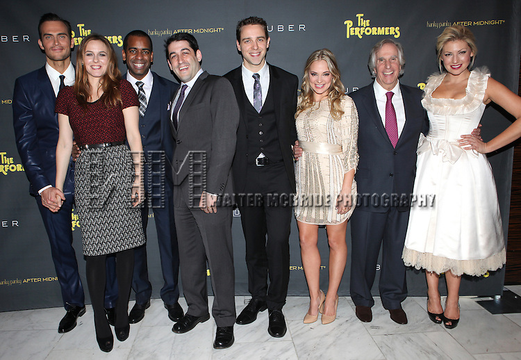 Cheyenne Jackson, Alicia Silverstone, Daniel Breaker, Evan Cabnet, David West Read, Jenni Barber, Henry Winkler & Ari Graynor attending the Broadway Opening Night Performance After Party for 'The Performers' at E-Space in New York City on 11/14/2012