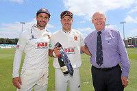 Ryan ten Doeschate (L) and John Faragher of Essex present Neil Wagner with a club tie to thank him for his service during 2017 during Essex CCC vs Warwickshire CCC, Specsavers County Championship Division 1 Cricket at The Cloudfm County Ground on 22nd June 2017