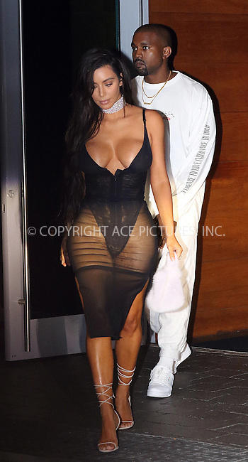 www.acepixs.com<br /> <br /> September 17 2016, Miami FL<br /> <br /> Kim Kardashian wears a low-cut, sheer black dress and diamond choker as she and Kanye West leave their hotel on the way to a Kanye West concert on September 17, 2016 in Miami Beach, Florida.<br /> <br /> By Line: Solar/ACE Pictures<br /> <br /> ACE Pictures Inc<br /> Tel: 6467670430<br /> Email: info@acepixs.com<br /> www.acepixs.com