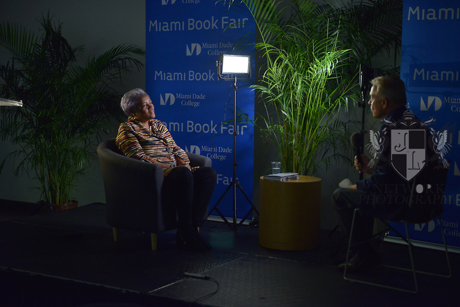 MIAMI, FL - NOVEMBER 15: Donna Brazile doing a one-on-one interview Michael Putney before her conversation with Ana Navaro during The Miami Book Fair at Miami Dade College Wolfson - Chapman Conference Center on November 15, 2017 in Miami, Florida. ( Photo by Johnny Louis / jlnphotography.com )