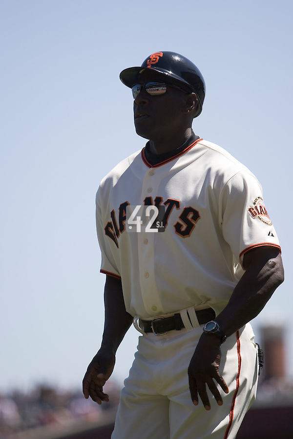 12 April 2008: First base coach Roberto Kelly of the Giants runs back to the dugout during the St. Louis Cardinals 8-7 victory over the San Francisco Giants at the AT&T Park in San Francisco, CA.