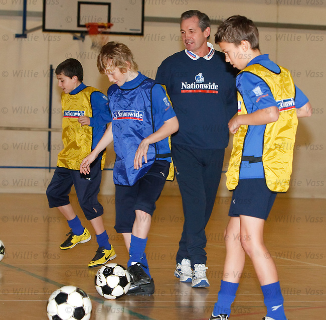 George Burley at a Nationwide coaching session with kids at Graham High School, Falkirk