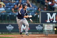 Pensacola Blue Wahoos second baseman Zach Vincej (3) at bat during a game against the Mississippi Braves on May 28, 2015 at Trustmark Park in Pearl, Mississippi.  Mississippi  defeated Pensacola 4-2.  (Mike Janes/Four Seam Images)