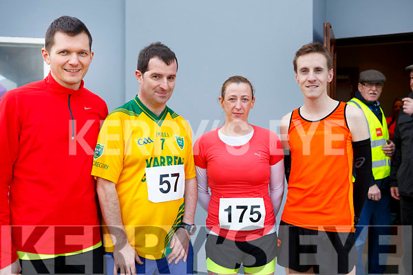 Carsten Ilchmann (Tralee), Adrian O'Chonchuir (Tralee), Tessy White (Listowel) and Derek Griffin (Tralee), attending the Kerins O'Rahilly's 10k Run/Walk in honour of local running legend John Griffin on Sunday morning last.