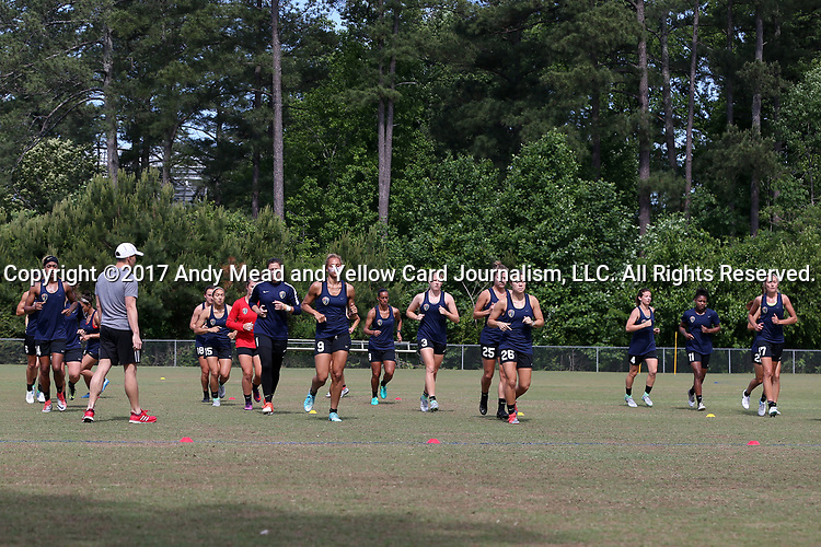 CARY, NC - MAY 04: Courage players warm up at the start of practice. The North Carolina Courage held a training session on May 4, 2017, at WakeMed Soccer Park Field 6 in Cary, NC.