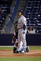 Lakeland Flying Tigers catcher Austin Green (30) at bat during a game against the Tampa Yankees on April 7, 2017 at George M. Steinbrenner Field in Tampa, Florida.  Lakeland defeated Tampa 5-0.  (Mike Janes/Four Seam Images)