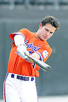 Designated hitter Tyler Krieger (3) of the Clemson Tigers warms on before a game against the Wofford College Terriers on Tuesday, May 5, 2015, at Russell C. King Field in Spartanburg, South Carolina. Wofford won, 17-9. (Tom Priddy/Four Seam Images)