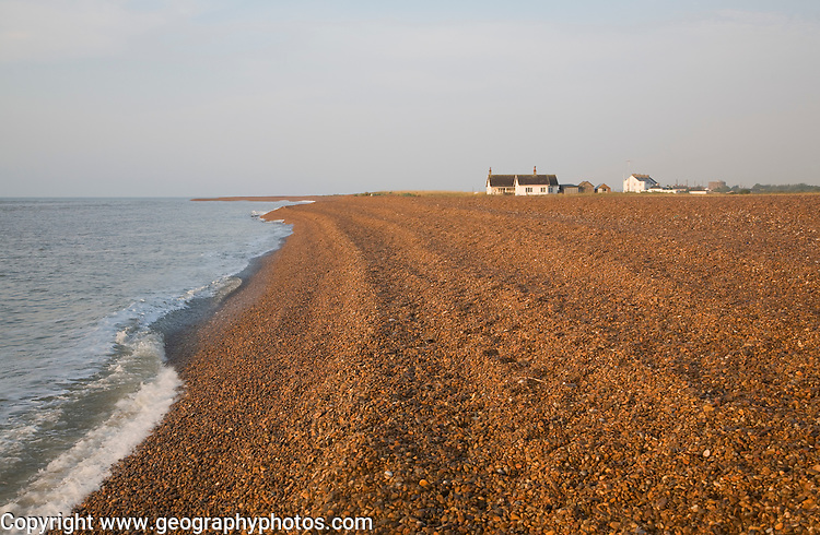 Homes at the coastal hamlet of Shingle Street, Suffolk, England