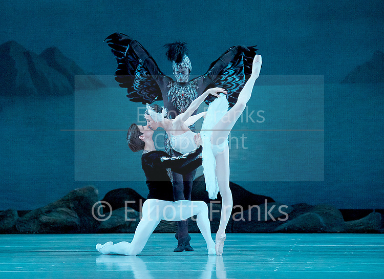 The Mariinsky Ballet Theatre<br /> at The Royal Opera House, Covent Garden, London, Great Britain <br /> Press photocall <br /> 27th July 2017 <br /> <br /> Music<br /> Pyotr Il&rsquo;yich Tchaikovsky<br /> <br /> <br /> Viktoria Tereshkina as <br /> Odette/Odile<br /> <br /> Xander Parish as <br /> Prince Siegfried<br /> <br /> Roman Belyakov as Von Rothbart <br /> <br /> Photograph by Elliott Franks <br /> Image licensed to Elliott Franks Photography Services