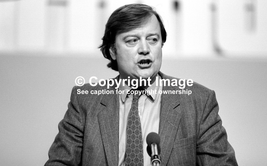 Kenneth Clarke, aka Ken Clarke, MP, Conservative Party, UK, junior minister, health &amp; social services, speaking at annual conference, Brighton.19840147KC.<br />