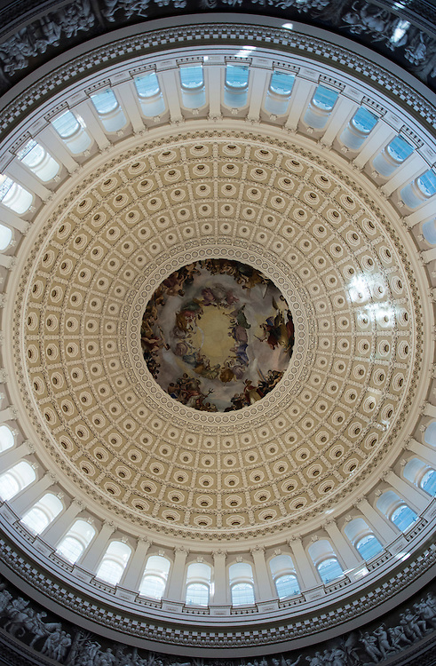 UNITED STATES - SEPTEMBER 6: The newly restored U.S. Capitol Rotunda is seen Tuesday morning, Sept. 6, 2016, as the area is reopened to the public following the restoration of the iconic space. (Photo By Bill Clark/CQ Roll Call)
