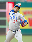 Chicago Cubs relief pitcher Pedro Strop (46) pitches in the eighth inning against the Washington Nationals at Nationals Park in Washington, D.C. on Wednesday, June 15, 2016.  The Nationals won the game 5 - 4 in 12 innings.  The Nationals won the game 5 - 4 in twelve innings.<br /> Credit: Ron Sachs / CNP