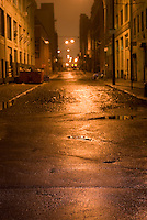 Mysterious Street Scene Illuminated at Night in the DUMBO neighborhood of Brooklyn, New York City, New York State, USA,   Selective Focus....