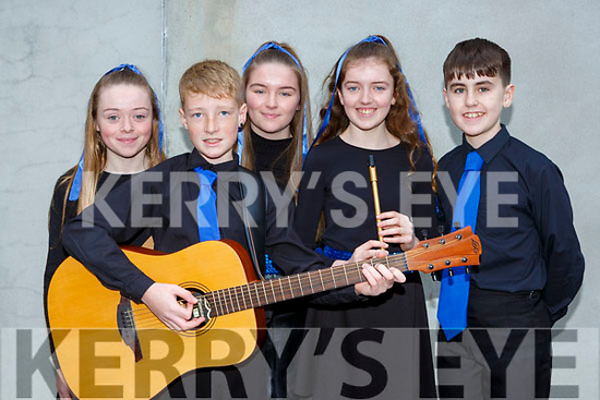 The Firies ballad group who competed in the East Kerry Scor finals in Fossa on Saturday l-r: Laura Power, Kristupas Griciunas, Ella Moynihan, Maeve Dineen, Gavin O'Sullivan,
