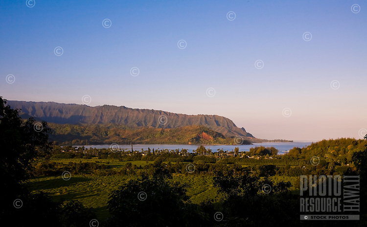 Hanalei Bay, on Kauai's North Shore, seen from the road into town looking down the valley out to sea