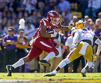 NWA Democrat-Gazette/BEN GOFF @NWABENGOFF<br /> Devwah Whaley, Arkansas running back, evades Kevin Toliver, LSU cornerback, in the second quarter Saturday, Nov. 11, 2017 at Tiger Stadium in Baton Rouge, La.