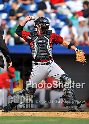 4 March 2012: Houston Astros' catcher Brad Snyder in action against the Washington Nationals at Space Coast Stadium in Viera, Florida. The Astros defeated the Nationals 10-2 in Grapefruit League action. Mandatory Credit: Ed Wolfstein Photo