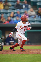 Altoona Curve center fielder Elvis Escobar (13) at bat during a game against the New Hampshire Fisher Cats on May 11, 2017 at Peoples Natural Gas Field in Altoona, Pennsylvania.  Altoona defeated New Hampshire 4-3.  (Mike Janes/Four Seam Images)