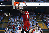CHAPEL HILL, NC - FEBRUARY 25: D.J. Funderburk #0 of North Carolina State University dunks the ball during a game between NC State and North Carolina at Dean E. Smith Center on February 25, 2020 in Chapel Hill, North Carolina.