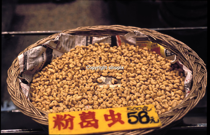 "A potato grub which retails in markets at around 60 RMB / 500 grams and is sold for around 50 RMB per dish in restaurants. The ""Fresh Wildlife"" restaurant in Guangzhou specializes in selling various insects including potato grubs, earth worms, scorpions, water beetles and bee larvae...PHOTO BY SINOPIX"