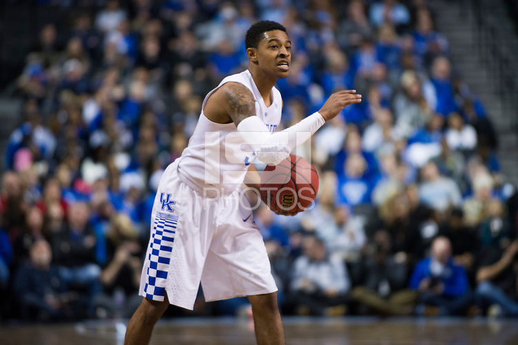 BROOKLYN, NY - Saturday December 19, 2015: Tyler Ulis (#3) of Kentucky and his Wildcats take on the Ohio State Buckeyes as the two teams square off in the CBS Classic at Barclays Center in Brooklyn, NY.